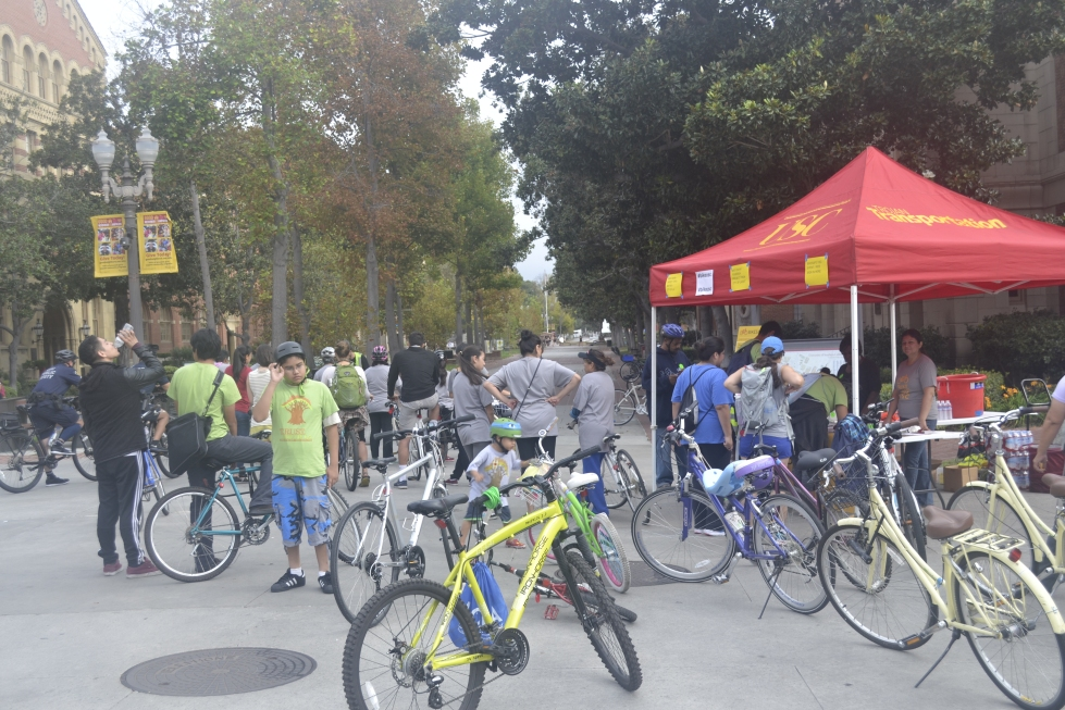 Bike on Fig to CicLAvia Riders gathering at Pardee Plaza Oct 18, 2015.