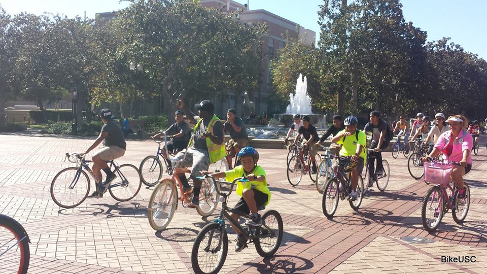 Riding by USC fountain - 2